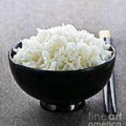 Bowl Of Rice With Chopsticks Print by Elena Elisseeva