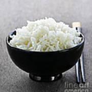 Bowl Of Rice With Chopsticks Print by Elena Elisseeva
