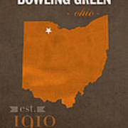 Bowling Green State University Falcons Ohio College Town State Map Poster Series No 021 Art Print