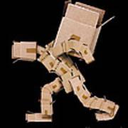 Box Character Carrying Large Box Art Print