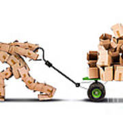 Box Character Moving Boxes On Trolley Art Print