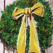 Boxwood Berries And Gold- Christmas Art Print