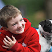 Boy, Age 6, Smiling With Jack Russell Art Print
