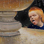 Boy At Fountain Of Youth Art Print