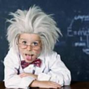 Boy Dressed As Einstein Art Print