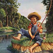 Boy Fishing In River Landscape - Childhood Memories - Flashback - Folkart - Nostalgic - Walt Curlee Art Print