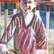 Boy N Best Friend Art Print by Linda Vaughon