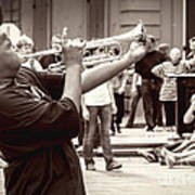 Boy On A Trumpet In Nola Art Print