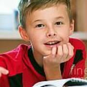 Boy Reading Book Portrait Art Print