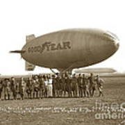 Boy Scouts And Goodyear Blimp Guarding Graf Zeppelin Los Angeles Airport Aug. 26 1929 Art Print