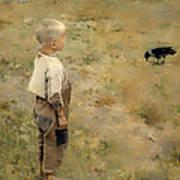 Boy With A Crow Art Print