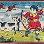 Boy With Dog Ducks Hunting. Bow And Arrow. Landscape. Matches. Match Book Antique Matchbox Cover. Art Print