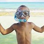 Boy With Snorkel Art Print