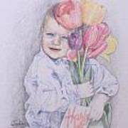 Boy With Tulips Art Print by Kathy Weidner