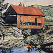 Boys And Covered Bridge Art Print by Joseph Juvenal