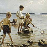 Boys Playing On The Shore Art Print