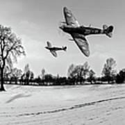 Low-flying Spitfires Black And White Version Art Print