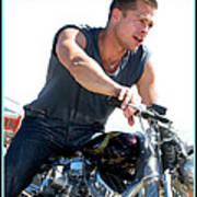 Brad Pitt On His Harley Art Print by Kip Krause