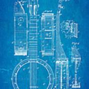 Bradbury Banjo Patent Art 1882 Blueprint Art Print