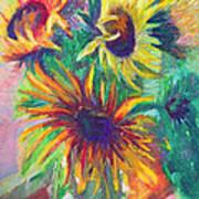 Brandy's Sunflowers - Still Life On Windowsill Art Print by Talya Johnson