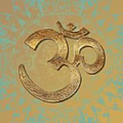 Gold Brass Om Mandala Art Print