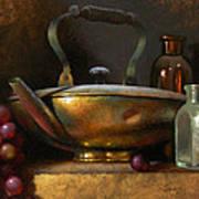 Brass Teapot And Antique Glass Art Print by Timothy Jones