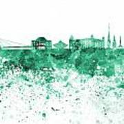 Bratislava Skyline In Gree Watercolor On White Background Art Print