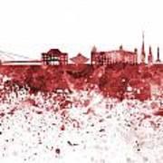 Bratislava Skyline In Red Watercolor On White Background Art Print
