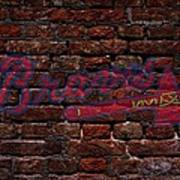 Braves Baseball Graffiti On Brick  Art Print