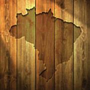 Brazil Map On Lit Wooden Background Art Print