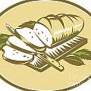 Bread Loaf With Knife And Board Woodcut Art Print