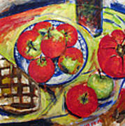 Bread Tomato And Apples Art Print by Vladimir Kezerashvili