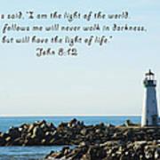 Breakwater Lighthouse Santa Cruz With Verse  Art Print