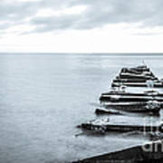 Breakwater Monochrome Art Print