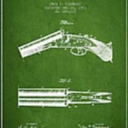 Breech Loading Gun Patent Drawing From 1883 - Green Art Print