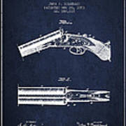 Breech Loading Gun Patent Drawing From 1883 - Navy Blue Art Print