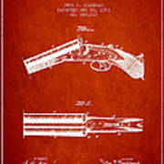 Breech Loading Gun Patent Drawing From 1883 - Red Art Print