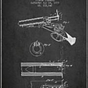 Breech Loading Shotgun Patent Drawing From 1879 - Dark Art Print