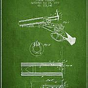 Breech Loading Shotgun Patent Drawing From 1879 - Green Art Print