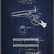 Breech Loading Shotgun Patent Drawing From 1879 - Navy Blue Art Print