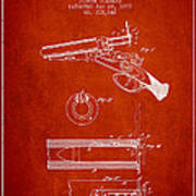 Breech Loading Shotgun Patent Drawing From 1879 - Red Art Print