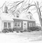 Brick Cottage Pencil Portrait Art Print
