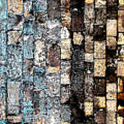 Bricks Of Turquoise And Gold Art Print