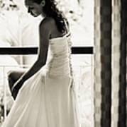 Bride At The Balcony II. Black And White Art Print by Jenny Rainbow