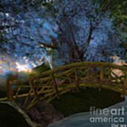 Bridge And Blue Tree Art Print