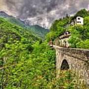 Bridge And Mountain Art Print
