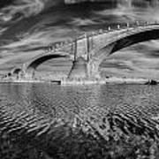 Bridge Curvature In Black And White Art Print