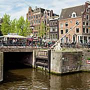 Bridge On Singel Canal In Amsterdam Art Print