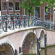 Bridge Over Canal With Bicycles  In Amsterdam Art Print
