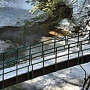 Bridge Over Frozen River Art Print